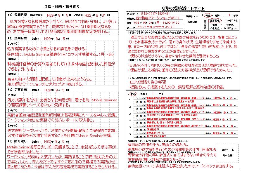 ポートフォリオ手帳の書き方見本1